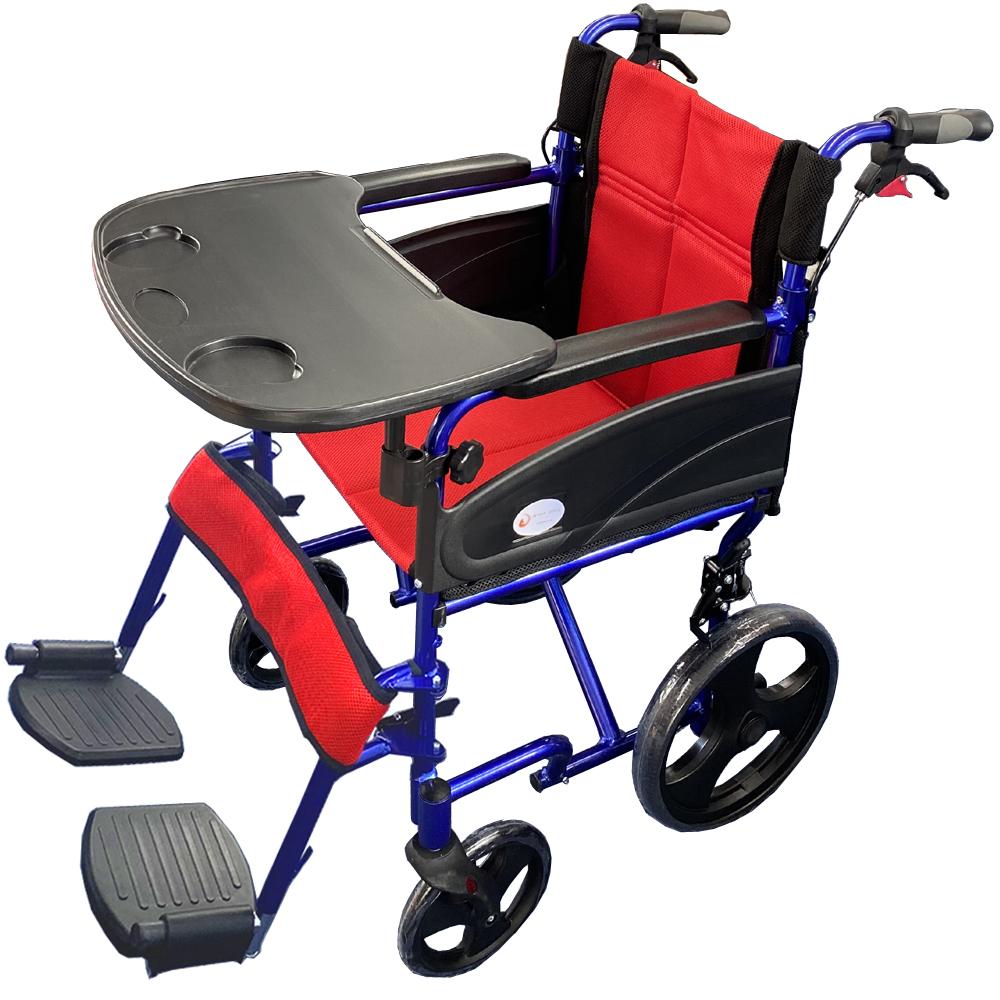 【ゆったりサイズののびのび車椅子】折りたたみ式 車椅子 Nice Way2(ナイスウェイ) 【テーブル付き】 【座面幅約46cm】 【簡易式】 【軽量】 【介護・介助用】 【介助ブレーキ付き】 車いす 折りたたみ 折り畳み コンパクト
