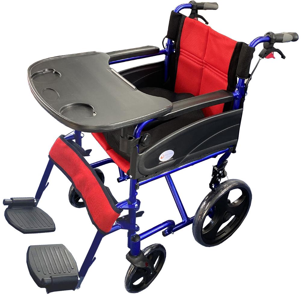 折りたたみ式 車椅子 Nice Way2(ナイスウェイ) 【3Dクッション・テーブル付き】 【座面幅約46cm】 【簡易式】 【軽量】 【介護・介助用】 【介助ブレーキ付き】
