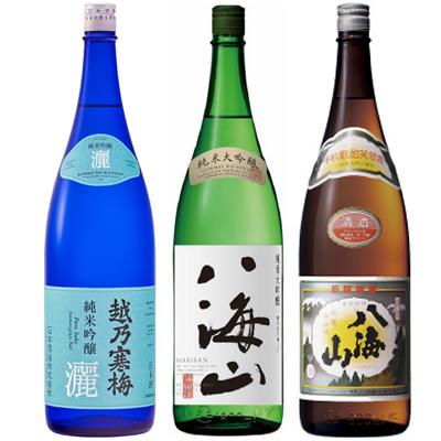 越乃寒梅 灑 純米吟醸 1.8Lと八海山 純米吟醸 1.8L と 八海山 普通酒 1.8L 日本酒 3本 飲み比べセット