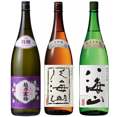 越乃寒梅 特撰 吟醸 1.8Lと八海山 吟醸 1.8L と 八海山 純米吟醸 1.8L 日本酒 3本 飲み比べセット