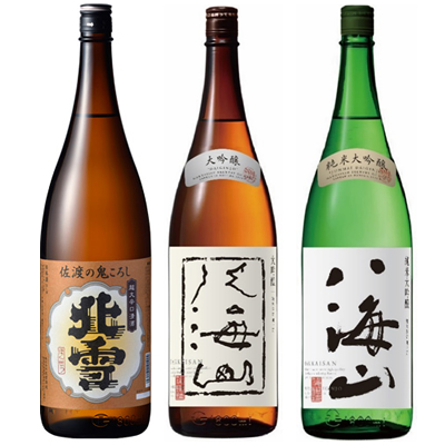 北雪 佐渡の鬼ころし 超大辛口 1.8Lと八海山 吟醸 1.8L と 八海山 純米吟醸 1.8L 日本酒 3本 飲み比べセット