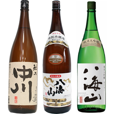 越乃中川 1.8Lと八海山 特別本醸造 1.8L と 八海山 純米吟醸 1.8L 日本酒 3本 飲み比べセット