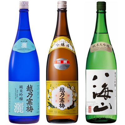 越乃寒梅 灑 純米吟醸 1.8Lと越乃寒梅 別撰吟醸 1.8L と 八海山 純米吟醸 1.8L 日本酒 3本 飲み比べセット