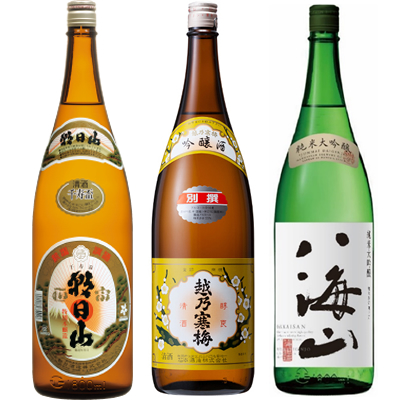 朝日山 千寿盃 1.8Lと越乃寒梅 別撰吟醸 1.8L と 八海山 純米吟醸 1.8L 日本酒 3本 飲み比べセット