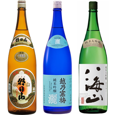 朝日山 千寿盃 1.8Lと越乃寒梅 灑 純米吟醸 1.8L と 八海山 純米吟醸 1.8L 日本酒 3本 飲み比べセット