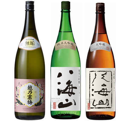 越乃寒梅 無垢 純米大吟醸 1.8Lと八海山 純米吟醸 1.8L と 八海山 吟醸 1.8L 日本酒 3本 飲み比べセット