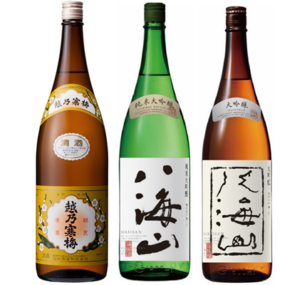 越乃寒梅 白ラベル 1.8Lと八海山 純米吟醸 1.8L と 八海山 吟醸 1.8L 日本酒 3本 飲み比べセット