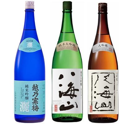越乃寒梅 灑 純米吟醸 1.8Lと八海山 純米吟醸 1.8L と 八海山 吟醸 1.8L 日本酒 3本 飲み比べセット