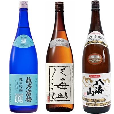 越乃寒梅 灑 純米吟醸 1800mlと八海山 大吟醸 1800ml と 八海山 特別本醸造 1800ml 日本酒 3本セット