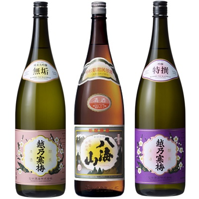 越乃寒梅 無垢 純米大吟醸 1.8Lと八海山 普通酒 1.8L と 越乃寒梅 特撰 吟醸 1.8L 日本酒 3本 飲み比べセット