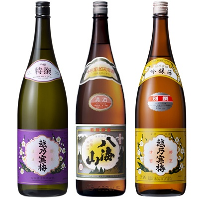 越乃寒梅 特撰 吟醸 1.8Lと八海山 普通酒 1.8L と 越乃寒梅 別撰吟醸 1.8L 日本酒 3本 飲み比べセット