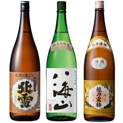 北雪 佐渡の鬼ころし 超大辛口 1.8Lと八海山 純米吟醸 1.8L と 越乃寒梅 白ラベル 1.8L 日本酒 3本 飲み比べセット