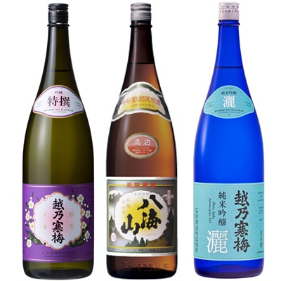 越乃寒梅 特撰 吟醸 1.8Lと八海山 普通酒 1.8L と 越乃寒梅 灑 純米吟醸 1.8L 日本酒 3本 飲み比べセット