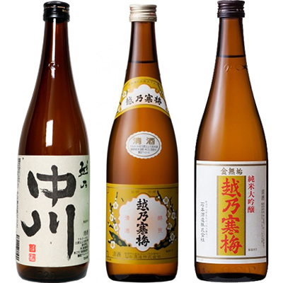 越乃中川 720ml と 越乃寒梅 白ラベル 720mlと越乃寒梅 金無垢 純米大吟醸 720ml 日本酒 3