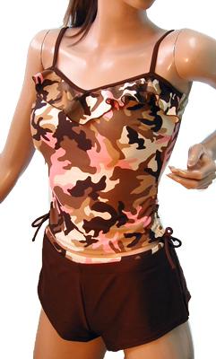 セール迷彩フリル付きタンキニ ピンク可愛いセパレート 三点セット パンツ付き フリフリ ブラウン 15750N00001rCdxoeB