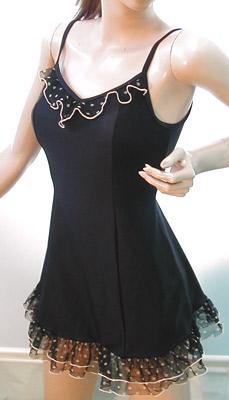 超♪プリティー♪ 水玉レースフリルのAライン水着 可愛い ブラック レーシー すっきり スタイルがよく見える リゾート水着 10代 20代 30代 40代 フェミニン セパレートプール 海 セレブ 日本製
