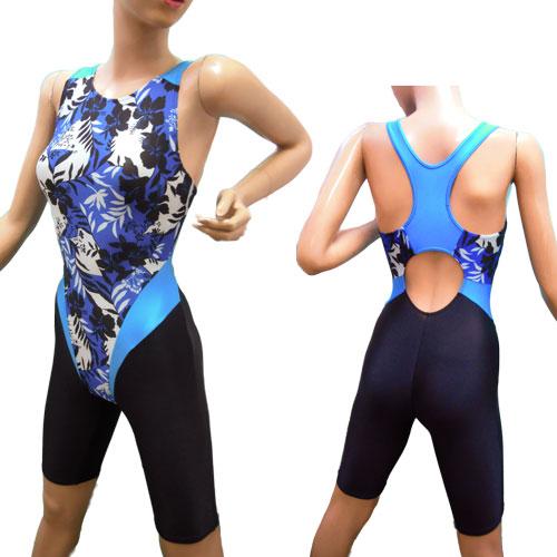 素敵なオールインワン水着*シャドーハイビスカス ブルー Mサイズ 収縮がよい競泳水着 着やすい レディース水着 フィットネス スポーツ ワンピース ミセス 水中ウォーキング スイミング スイムスーツ 日本製