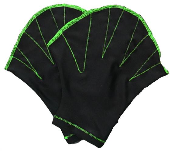 〔Lサイズ〕指が出せて使いやすいアクアミットです NEW Lサイズ アクアグローブブラック×黄緑 〔アクアミット 水泳 練習用 水中ウォーキング ソフトミット 記念日 エクササイズ 男性用 水泳用手袋 柄 女性用〕