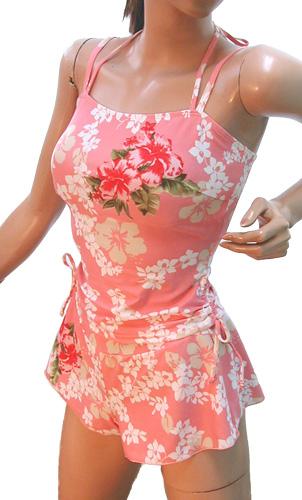 NEW!おしゃれタンキニ*ハイビスカス【ピンク】可愛い セパレート 三点セット スカート付き