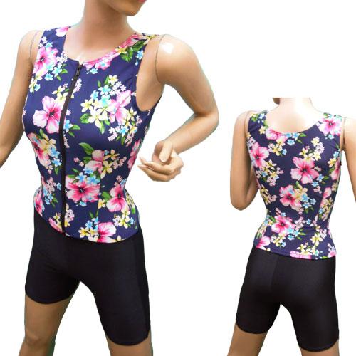 [日本製フィットネス水着] ハイビスカス オープンファスナーセパレート水着 袖なし レディス 女性用 婦人水着 可愛い リゾート スイミング 水中ウォーキング ノーマル 柄物 プリント パット付き 20代 30代 40代 50代 60代 70代 Mサイズ Lサイズ ネイビー ピンク