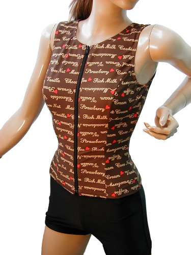 【2Lサイズ】[カラー:モカブラウン]袖なし ノースリーブ オープンファスナーセパレート水着 レディス 女性用 婦人水着 スイミング 水中ウォーキング ノーマル 柄物 縫い付けパット パット付き 日本製 30代 40代 50代 60代 70代 めくれ防止 フィットネス水着