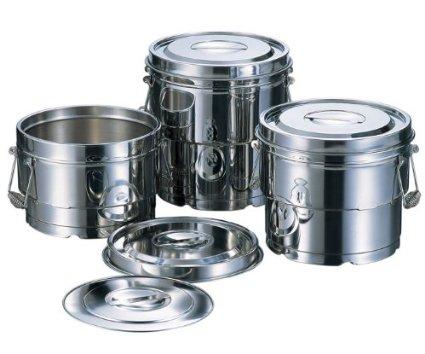 赤川器物製作所 1664606 18-8段付二重汁食缶3点クリップ付8L【smtb-s】