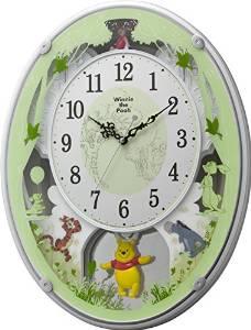 リズム時計 Disney (ディズニー) くまのプーさん 電波 からくり キャラクター 掛け時計 M523 ホワイト 4MN523MC03【smtb-s】