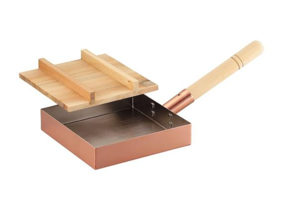 アサヒ 食楽工房 純銅本職仕様玉子焼18×18cm(木蓋付)