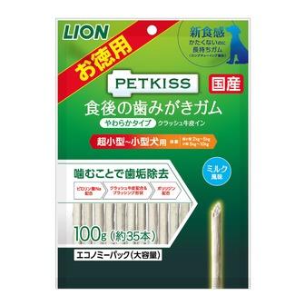 ライオン商事 PETKISS食後の歯みがきガムやわらかタイプ超小型-小型犬用エコノミーパック大容量100g