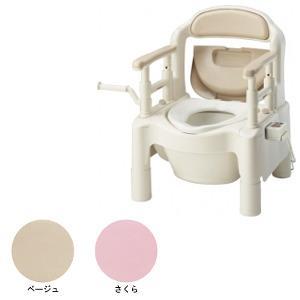 アロン化成 ポータブルトイレFX-CP 暖房・快適脱臭 キャスター付 さくら色【smtb-s】