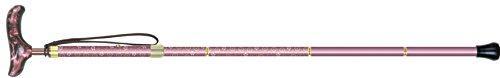 シナノ カイノスT-1 花 KOMON (パープル) 全長75-85cm(ピッチ2cmラチェット調節式) 約300g 布製ストラップ 専用ポーチ付 折り畳み杖 日本製【smtb-s】