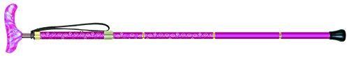 シナノ カイノスT-1 花 KOMON (ピンク) 全長75-85cm(ピッチ2cmラチェット調節式) 約300g 布製ストラップ 専用ポーチ付 折り畳み杖 日本製【smtb-s】