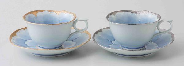 送料無料 西海陶器 お見舞い ついに再販開始 プラチナ牡丹 K80-56042 ペア珈琲碗皿