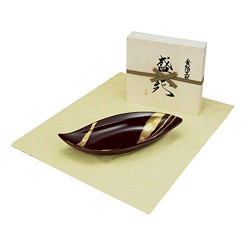 土谷漆器 純金箔工芸 溜塗 金彩 12.0やわらぎ盛器(木箱入)