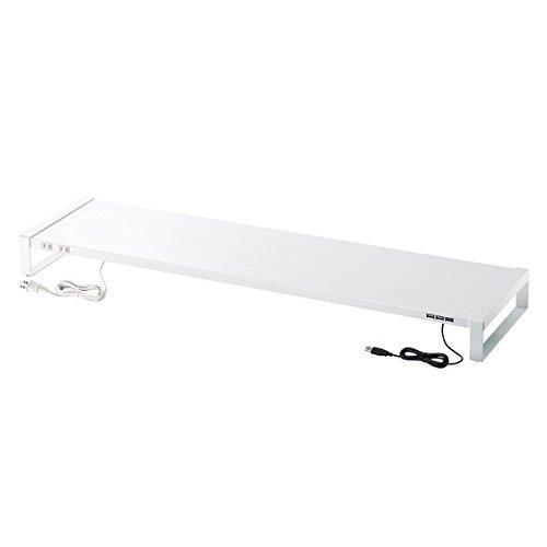 サンワサプライ 電源タップ+USBハブ付き机上ラック(W1000) ホワイト MR-LC206W(MR-LC206W)【smtb-s】