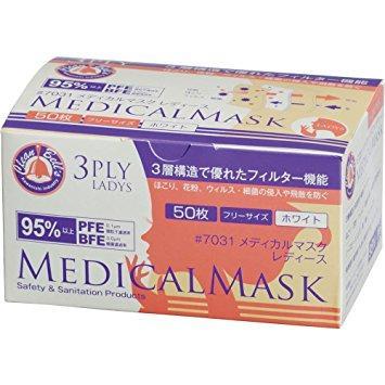 川西工業 メディカルマスク3PLY女性用  1箱50枚(7031 ピンク)【入数:40】【smtb-s】