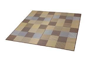イケヒコ・コーポレーション 純国産 袋織い草ラグカーペット 『京刺子』 ブラウン 約191×191cm 1706920【smtb-s】