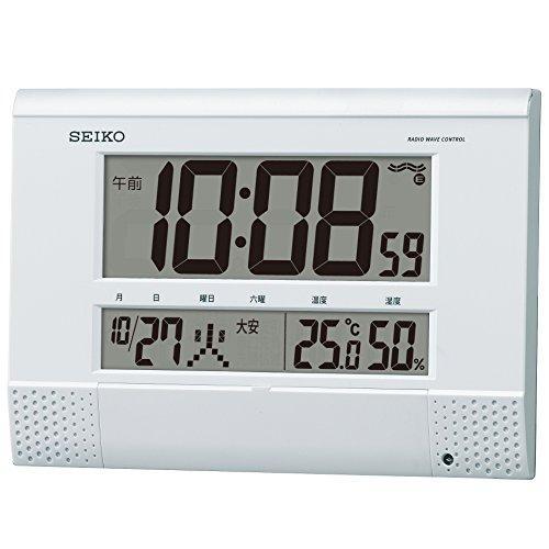 SEIKO CLOCK (セイコークロック) 掛置兼用時計 電波 デジタル プログラム機能 カレンダー・六曜・温度・湿度表示 コンパクト 白パール SQ435W【smtb-s】