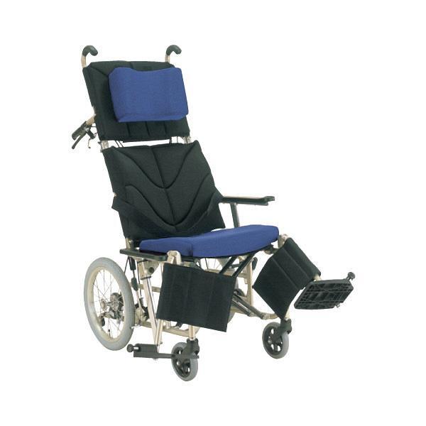 カワムラサイクル ティルティング&リクライニング車椅子 ぴったりフィット KPF-16 座幅42 フレーム メタリックレッド 黒メッシュx青メッシュ【smtb-s】