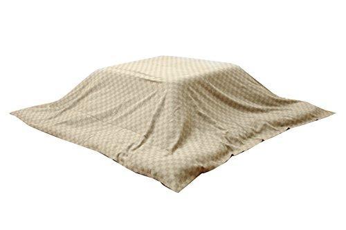 送料無料 イケヒコ コーポレーション インド綿100% 格子柄 上掛カバー デポー ベージュ 約210×290cm 人気 クレタ こたつ布団