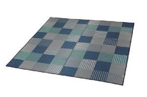 イケヒコ・コーポレーション 純国産 袋織い草ラグカーペット 『京刺子』 ブルー 約191×191cm 1706870【smtb-s】
