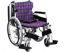 カワムラサイクル アルミ自走用車いす 簡易モジュール KA822-38B-LO A11 低床タイプ / 座幅38cm A11 ( 紫チェック )【smtb-s】