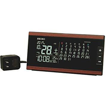 セイコークロック(Seiko Clock) セイコー クロック 目覚まし時計 電波 交流式 デジタル マンスリーカレンダー機能 六曜表示 茶 木目 模様 DL212B SEIKO【smtb-s】