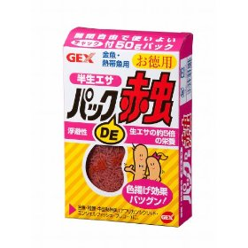 GEX(ジェックス) パックDE赤虫徳用 50g 【ドライフード(赤虫・糸ミミズ・乾燥エビ)/フィッシュフード】 単品