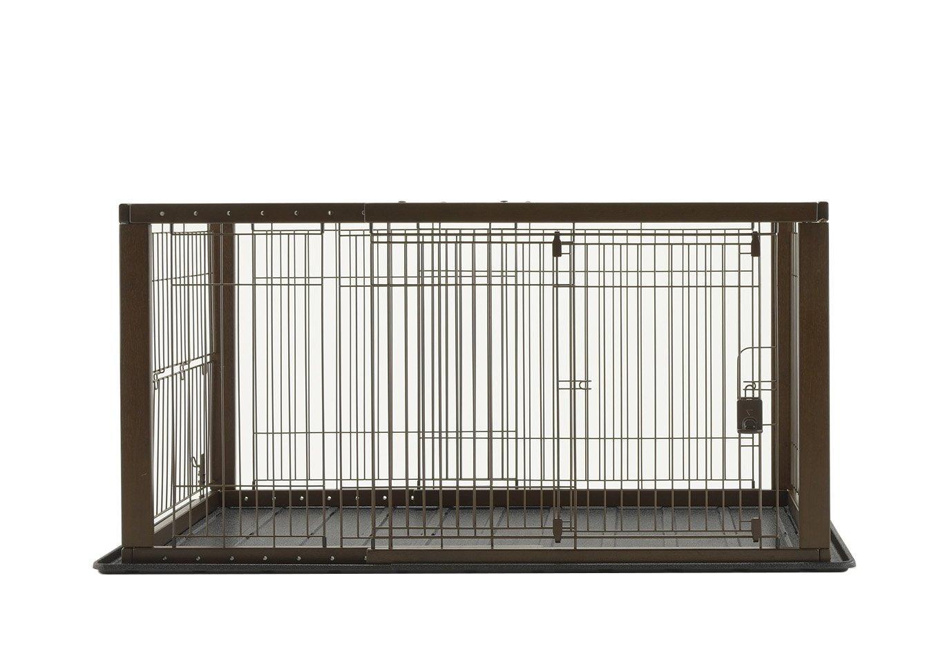 (ha046)Richell(リッチェル) 木製スライドペットサークル ワイド 小型犬・中型犬用 【ダークブラウン】【smtb-s】