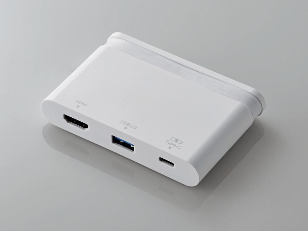 エレコム Type-Cドッキングステーション/PD対応/充電&データ転送用Type-C1ポート/USB(3.0)1ポート/HDMI1ポート/ケーブル収納/ホワイト(DST-C06WH)【smtb-s】