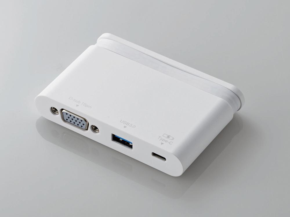 エレコム Type-Cドッキングステーション/PD対応/充電&データ転送用Type-C1ポート/USB(3.0)1ポート/D-sub1ポート/ケーブル収納/ホワイト(DST-C07WH)【smtb-s】