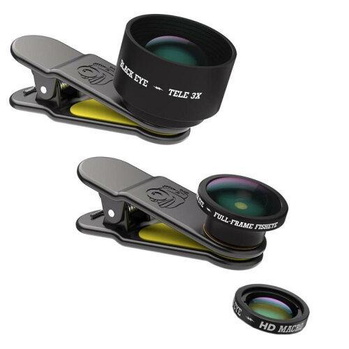 ブラックアイ(BLACK EYE) BLACK EYE(ブラックアイ) スマホ用クリップ式レンズ PRO KIT 魚眼&光学3倍望遠&HDマクロ レンズ3点セット PRO KIT PK001 (1285111)【smtb-s】