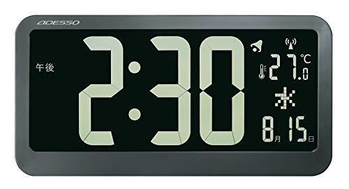ADESSO(アデッソ) 掛け時計 電波時計 ブラックディスプレイ 反転液晶 大画面 温度 日付表示 ブラック OP-04【smtb-s】