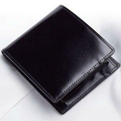 ELYSION (M61313249) コードバン二つ折財布(ブラック)  S-NOM153102BK【smtb-s】
